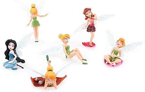 Juego de 6 adornos de hadas de flores diferentes en miniatura para jardín, decoración de casa de muñecas, kit de accesorios de jardín de hadas, diseño de hadas y silla de mesa