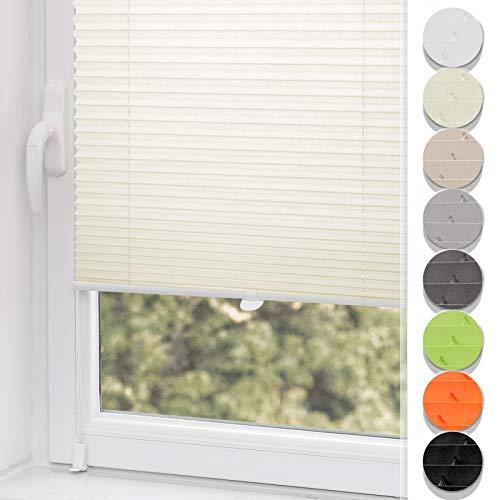 Plissee ohne Bohren klemmfix Jalousie Sonnenschutz Easyfix Faltrollo Crushed Optik Lichtdurchlässig Rollo für Fenster & Tür Beige 35x100cm(BXH)