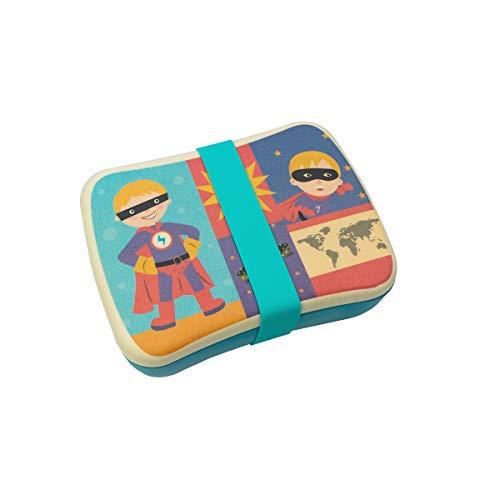 Tupper,lonchera niños de Bambú,Conjunto Sandwichera y Tupper de bambú.ideal para infantil niños y bebé,Material ecológico sin BPA, Apto para lavavajillas-superman