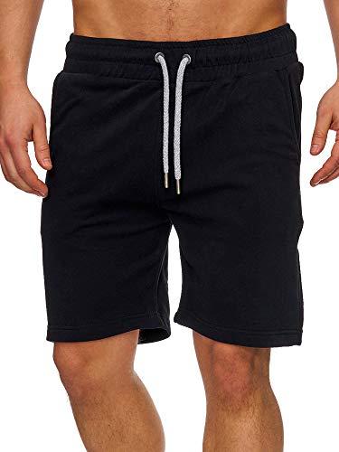 Tazzio Herren Sweatshort Jogginghose Fitnesshose Traininghose Sweatpants Sporthose Freizeithose 17600 Schwarz L