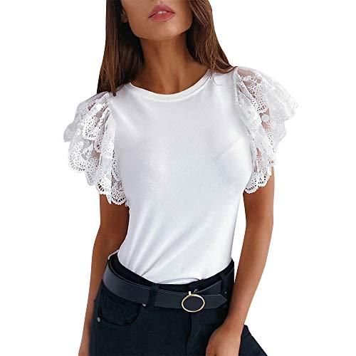 N\P Camiseta de verano para mujer, de manga corta, informal, con cuello en O