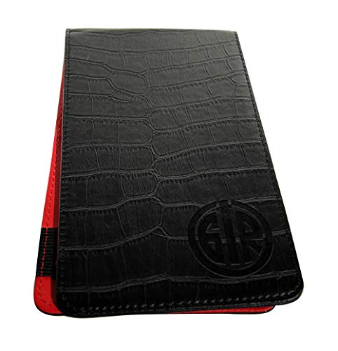 GolfinRed Alligator Leather Golf Scorecard Holder & Yardage Book Cover + Strokes Gained Stickies Stats Sheets (20 Rounds)