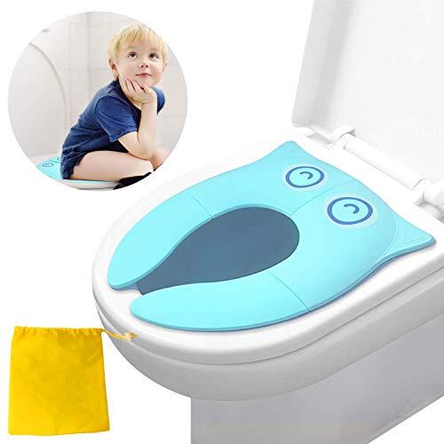 Sedile per vasino per WC, copri vasino portatile, sedile per WC pieghevole da viaggio, stalla di aggiornamento con cuscinetti in silicone antiscivolo(verde)