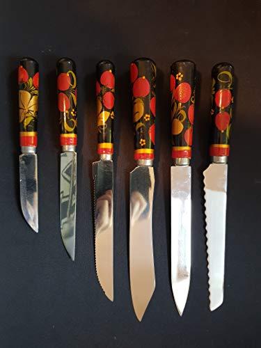 6 Alte Russische Küchenmesser mit Holzgriff