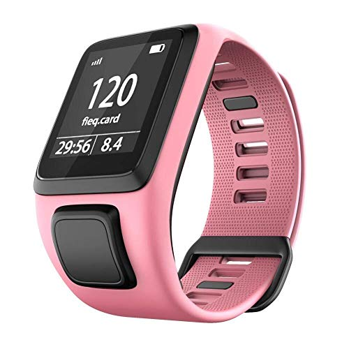 Yanchad Smartwatch Silikon-Ersatz-Uhrenarmband kompatibel for Tomtom 2 3 Series Runner 2 3 Spark Series Golfer 2 Smart Armband Sportarmband Mode tragbar (Color : Pink)