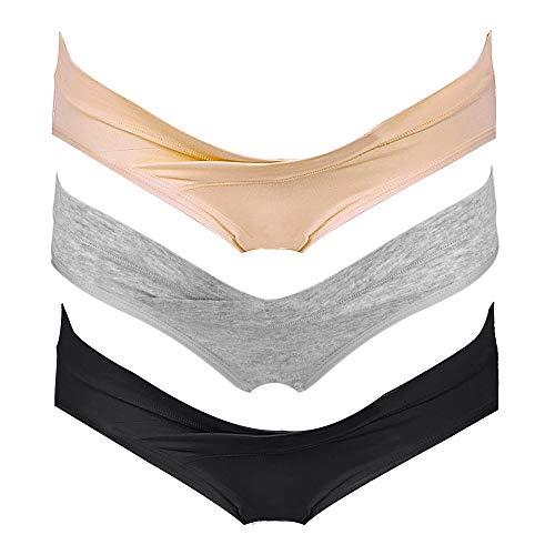 Intimate Portal Mujer Braguitas de Bikini Premamá Debajo la Barriga Bragas Postparto Algodón Cesárea PK de 3 Negro Gris Beige L