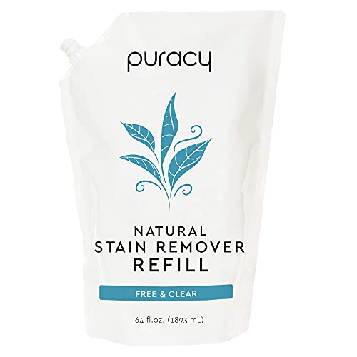 Puracy Natural Laundry Stain Remover Refill, 64 Fl Oz, Enzyme-Based Spot & Odor Cleaner, Free & Clear