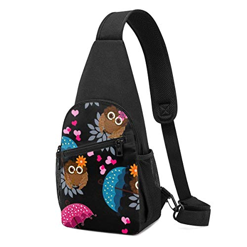 DJNGN Herren Brustpackung Eule und Regenschirm Leichte Umhängetasche mit verstellbarem Schultergurt zum Einkaufen Wandern Outdoor-Sportarten