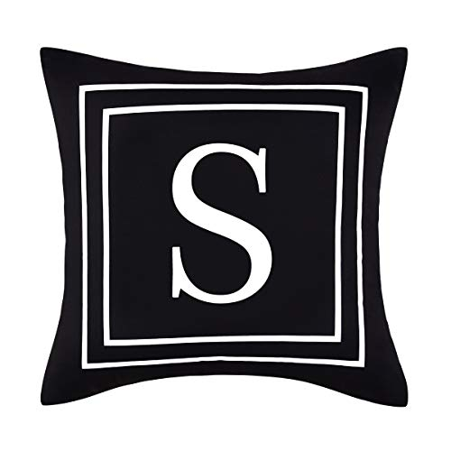 Yastouay Pillow Covers English Alphabet S Throw Pillow Cover Black Throw Pillow Case Modern Cushion Cover for Sofa Bedroom Chair Couch Car (Black, 18 x 18 Inch)