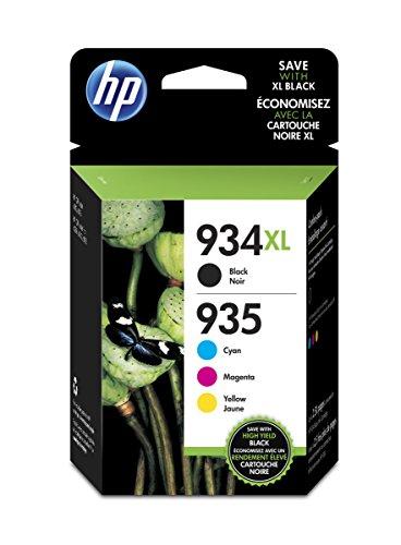 HP Paquete de Ahorro de 4 Cartuchos de Tinta Original 934XL de Alta Capacidad negra/935XL Cyan/Magenta/Amarilla Paquete de Ahorro de 4 Cartuchos de Tinta Original 934XL de Alta Capacidad Negra/