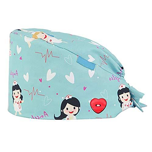 GEMVIE Reutilizable Gorro Enfermera con Botones Pelo Largo Robin Hat para Mujers y Hombres,Dibujos Animados, Flor,Peces, Corbata Ajustable