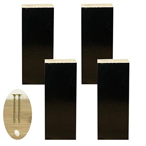 4 x meubelpoten, houten sofapoten, geschikt voor slaapbank meubels, zwart, inclusief schroeven (8 cm)