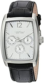 Caravelle New York Men's Stainless Steel Analog-Quartz Watch with Leather-Crocodile Strap, Black, 22 (Model: 43C116)