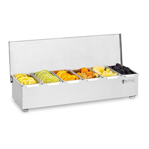 Royal Catering Zutatenbehälter Beilagenbehälter RCCBS 5 (Edelstahl, 6 Behälter, Fassungsvermögen je Behälter: 450 ml, Abdeckung aus Edelstahl, 45,2 x 15 x 8,8 cm)