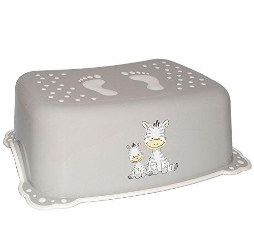 alles-meine.de GmbH Anti RUTSCH - Trittschemel / Tritthocker / Kindersitz -  Zebra - grau  - Kinderschemel & Kindertritt / Fußbank - groß - ideal als Erhöhung & Sitz - Kinderho..