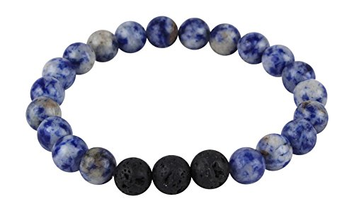 Mana Vibes Designed Lava Rock and Blue Sodalite Essential Oil Diffuser Bracelet Essential Oil Jewelry