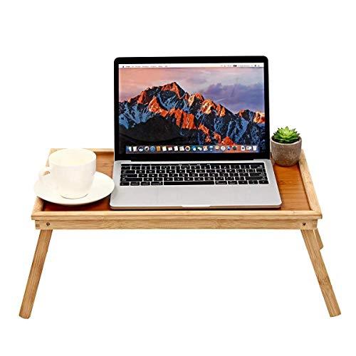 HYY-YY Escritorio del Ordenador portátil Plegable de bambú Plegable de Madera Tabla del Cuaderno del Ordenador portátil Bandeja de la Cama Mesa de Desayuno for Ministerio del Interior (Color: Madera,