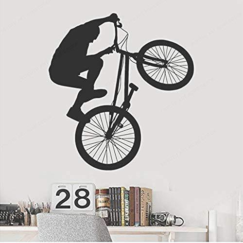 Opprxg Bicicleta Habitación Juvenil Deportes Extremos Pared de Vinilo Decoración del hogar Dormitorio Sala de Estar Arte Mural Etiqueta de la Pared 42X45cm