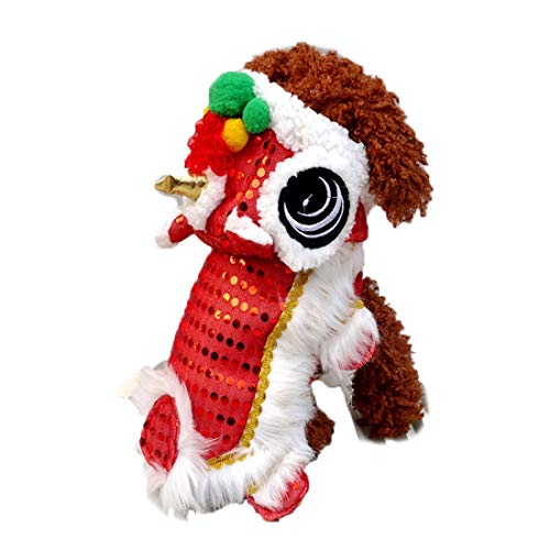 WORDERFUL Dog Costume Cute Lion Dance Pet Costume with Red Sequins New Year Cat Dog Clothes Hoodies Coat for Small Dogs (16, Red)