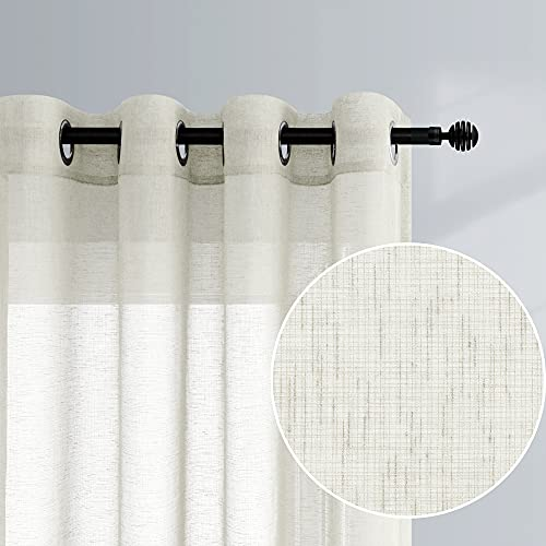 Beige Curtains 96 Inches Long for Living Room Decor 2 Panels Set Grommet Faux Linen Weave Semi Sheer Window Drape Floor Length Curtain for Bedroom Dining Room Farmhouse 52x96 Inch Length Cream Colored