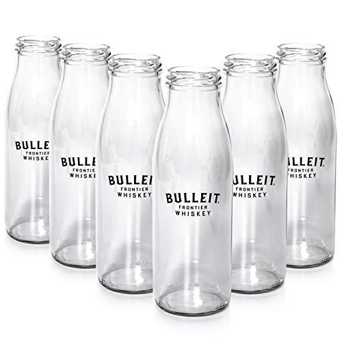 Bulleit Whiskey 6X Glas/Bulletin Milk Bottle - Glas im Milchflaschen-Design NEU