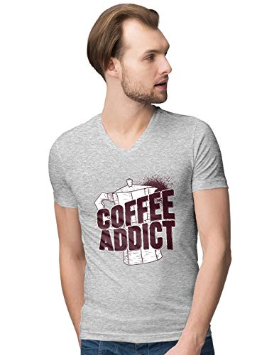 BLAK TEE Herren Coffee Addict with Kettle Illustration V-Neck T-Shirt M
