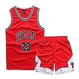 Nest Home Enfant garçon Michael Jordan # 23 Chicago Bulls Short de Basket-Ball Retro Maillots d'été Uniforme de Basket-Ball Top & Shorts (Rouge, XS(100-120 CM)
