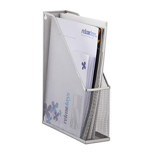 Relaxdays Organizador de Documentos para Escritorio, Metal, Plateado, 31.5 x 7.2 x 25 cm