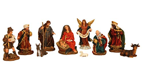 Krippenfiguren 11 teiliges Set Krippe Figuren Größe bis 13 cm