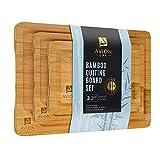 bamboo cutting board set, 3 piece kitchen chopping boards with juice groove, wood cutting boards for...