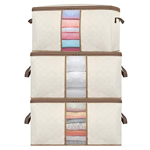 SEEHONOR Large Capacity Clothes Container Closet Storage Bag Organizer 3 Packs with 2 Handles, Clear Window, Zipper for Bedding Blanket Comforters Linen Clothing, 90L