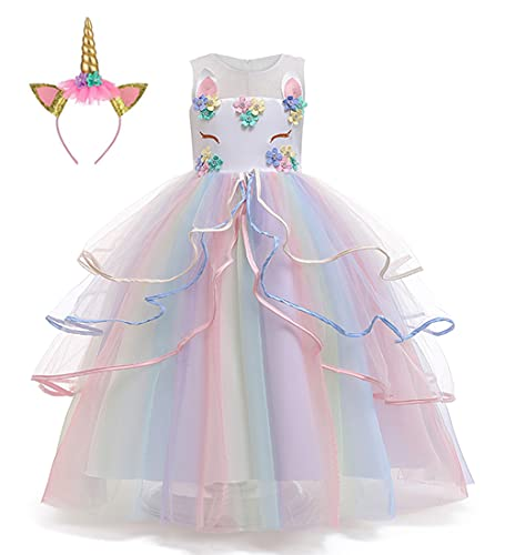 LZH Vestido de Disfraces de Unicornio para niñas Desfile Princesa cumpleaños Fiesta de Bodas Carnaval Vestido Largo Maxi Vestidos con Diadema
