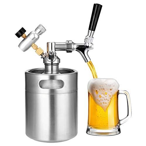 SIRUL Mini Barril de Cerveza de Acero Inoxidable, Grifo Growler de Acero Inoxidable de 2 litros, regulador de presión de CO2 Mantiene la carbonatación para Cerveza Artesanal, Barril y Cerveza casera