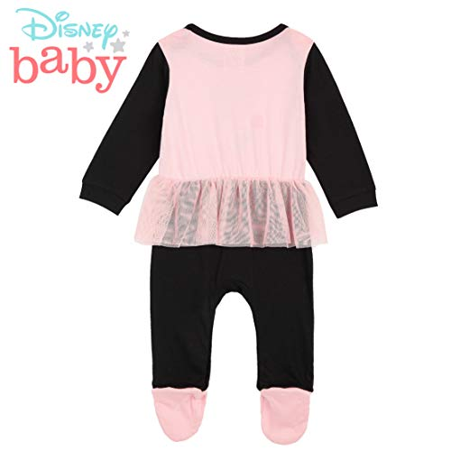 Disney Pijama Niña de Minnie Mouse, Body Bebe Manga Larga, Pijamas Enteros, Monos para Bebes Desde 0 a 24 Meses, Regalos Originales para Bebes Recien Nacidos (Rosa/Negra, 12-18 Meses)