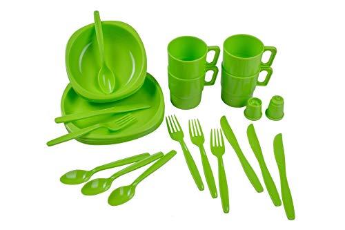 styleshop777 Juego de Cubiertos, Platos y Vasos de plástico para pícnics, acampadas y Actividades al Aire Libre, Compuesto por 26Piezas Resistentes a la Rotura