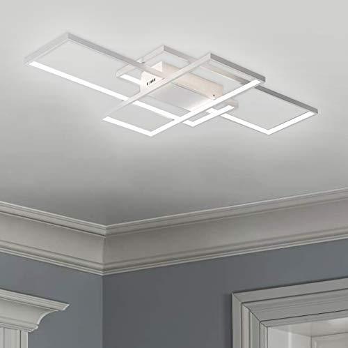 Leniure White Modern Square LED Light Ceiling Lamp Chandelier Lighting Fixture 35' Wide 22' Deep 3' High, Warm White 3000K