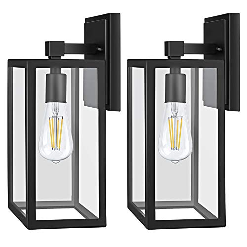 PARTPHONER Outdoor Light Fixtures Wall Mount, Porch Light with 2 LED Bulbs, Exterior Light Fixture Waterproof Anti-Rust Wall Sconce with Clear Glass and Black Aluminum for Garage, Doorway-2 Pack
