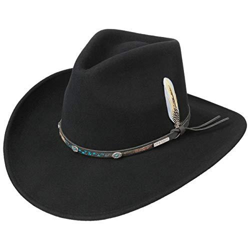Stetson Cappello Western Montrose VitaFelt Uomo - Made in USA da Cowboy Lana Outdoor con Fascia Pelle Autunno/Inverno - S (54-55 cm) Nero