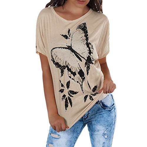 WTOUHE Mujer Tops, 2019 Camiseta de moda de verano Cuello redondo Tacones impresos Camisetas de manga corta Mujer Causal de playa Camisa de barba