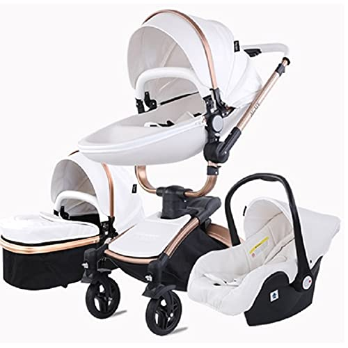 Baby Stroller 3 in 1 Tricycle Baby Walker High Landscape Stroller Folding Strollers Baby Trolley Baby Pram for Baby 0-36 Months (White)