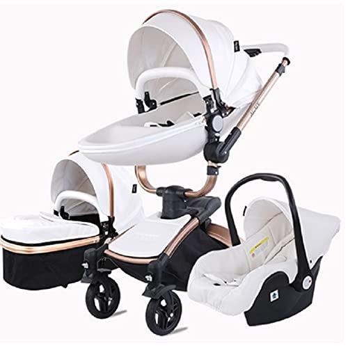 Sillas de paseo Cochecito de bebé 3 en 1 Triciclo Baby Walker Cochecito de alto paisaje Cochecitos plegables Carrito de bebé para bebé 0-36 meses (Blanco)