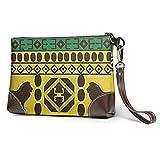 GLGFashion Carteras de cuero para mujer African Traditional Pattern Lions Rasta Jamaica Travel Makeup Bags Cosmetic Case Organizer for Women