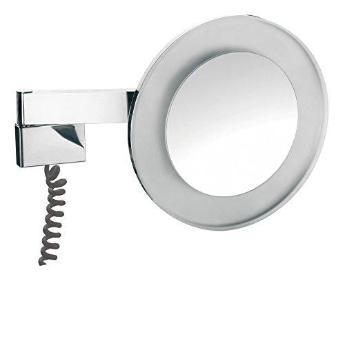 emco LED R.- u.Kosmetikspiegel, 2-armig Vergrößerung 5-fach, mit Farbwechsel, Stecker, rund,Chrom