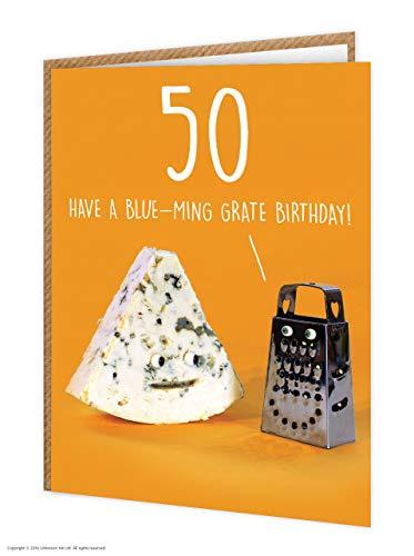 50e verjaardagskaart | Grappig Humoristisch | Leeftijdskaart | Kaas grap | 'Blauw-Ming Rooster Verjaardag!' | Verkocht door onbekende inkt