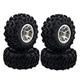 Boliduo 4PCS 1/10 Monster Truck Tires Tyre and Wheel Rim Set for 1/10 RC Bigfoot HSP HPI Traxxas Tamiya Kyosho Monster Truck Model Parts (Silver)
