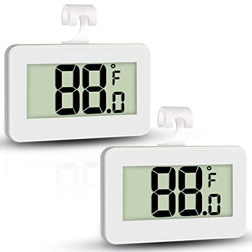 Mini Refrigerator Fridge Thermometer, 2 Pack Digital Freezer Thermometer Waterproof Room Thermometer with Hook, Large LCD Display Indiana