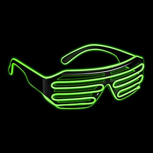 Balinco LED Brille mit 3 Blitzmodi - perfekt geeignet als Techno DJ | Festival | Halloween | Karneval | Fasching als Ergänzung zum Horror Kostüm (Neon Grün)