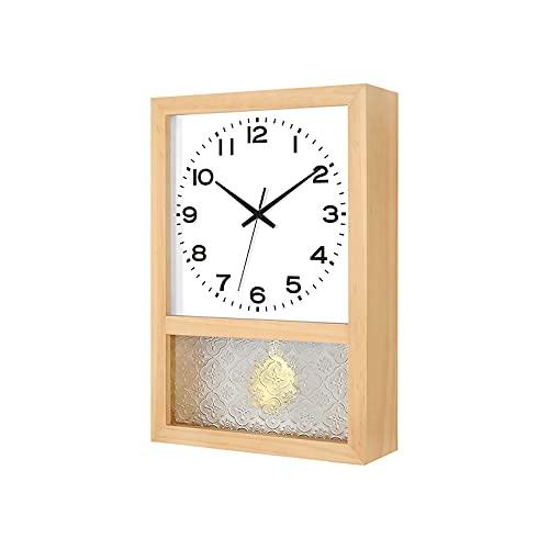 QSJY Wall Clock Reloj Giratorio de 16 Pulgadas (Tiempo automático, Color de Madera/Color de Nuez, Aguja Negra sin impresión, Vidrio de Begonia) (Color : A, Size : 16inch)