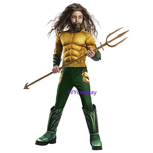 MSSJ Disfraz de Aquaman para niños Traje de Cosplay de músculo Aquaman Dorado para niños Disfraces de superhéroe para niños Disfraz de Halloween para niños M