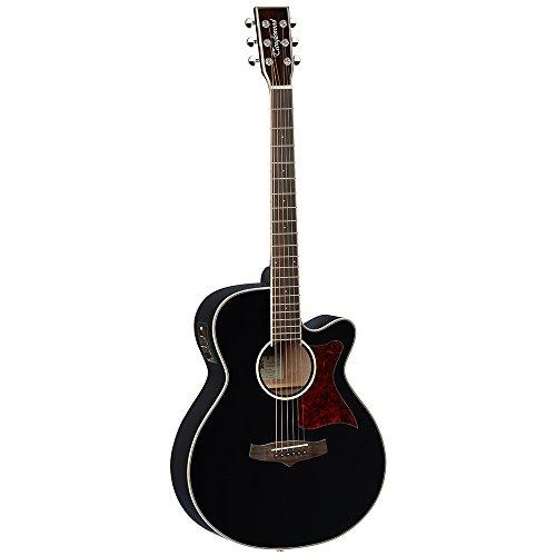 Tanglewood TW4 BK - Guitarra electroacústica Super Folk, parte superior de cedro sólido, con ecualizador